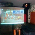 Sports bar, big screen