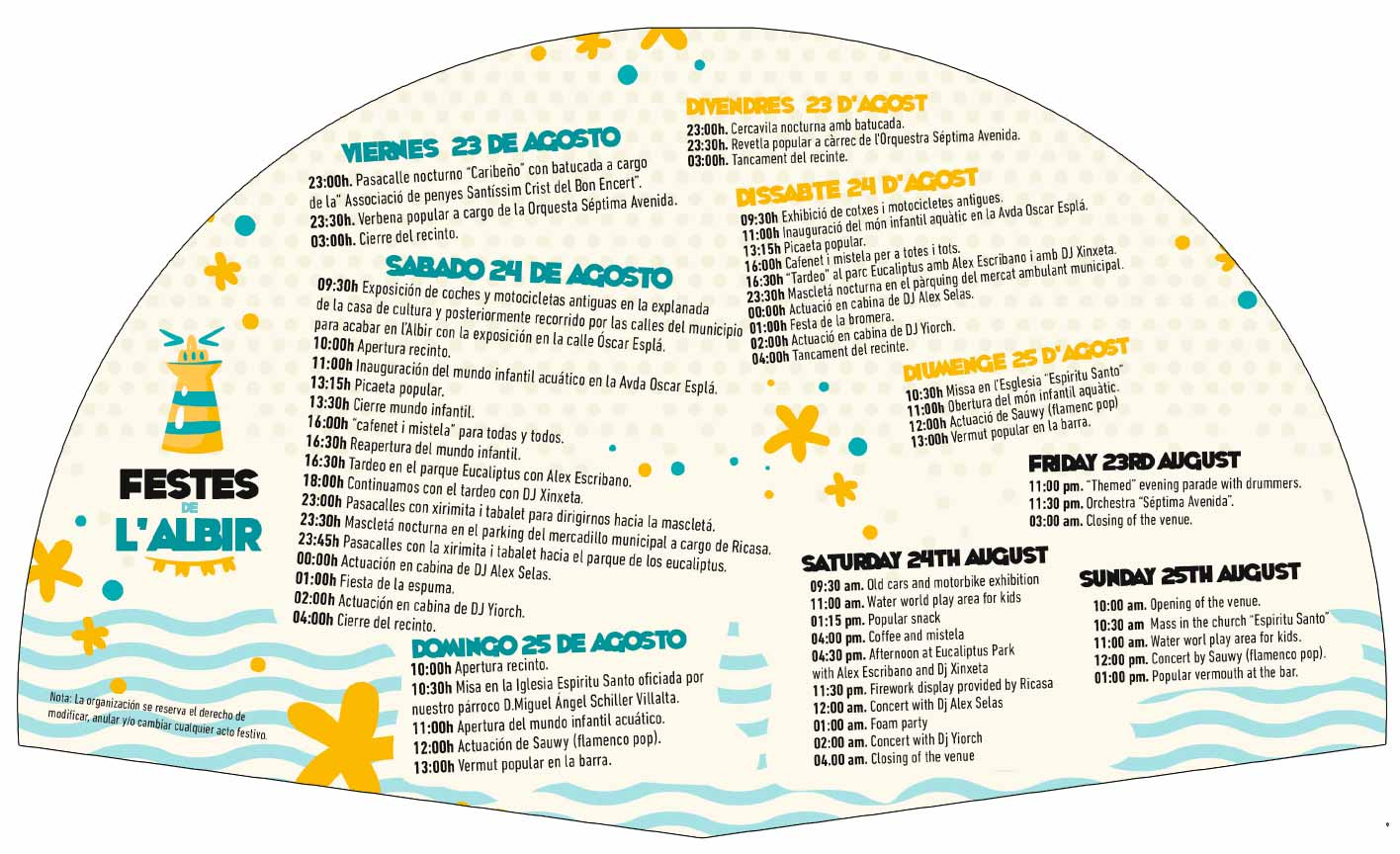 Albir fiestas program